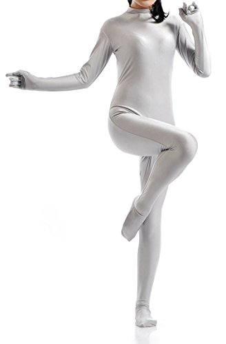 [VSVO Unisex Skin-Tight Spandex Full Body Suit for Adults and Children (Medium, Silver)] (Red Morph Suit)