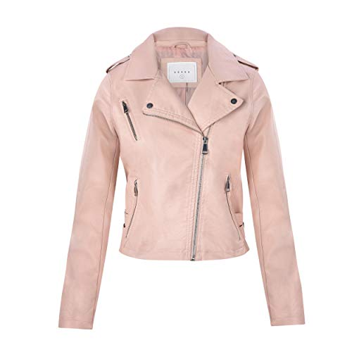 (Women's Juniors Fashionable Faux Leather Moto Biker Jacket with Pockets in Dusty Pink Size)