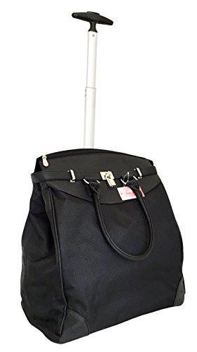 Trendy Flyer Computer/Laptop Rolling Bag 2 Wheel Case Plain Black