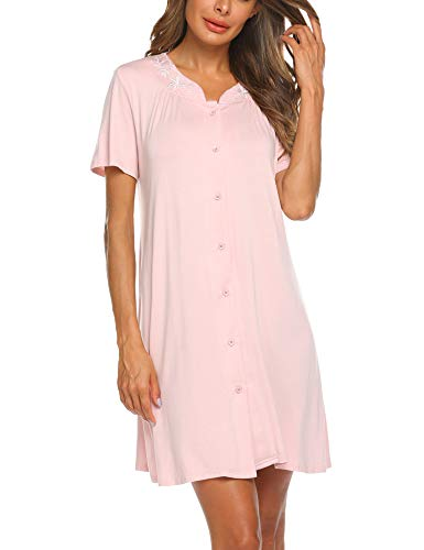 Ekouaer Womens Dusters and Housecoats Short Sleeves Nightgown Button Front Nightwear Lounger PJs Dress S-XXL Pastel Pink