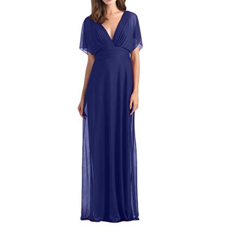 Lang Festlichkleider Dunkel mia Chiffon A Promkleider La Blau Brautjungfernkleider Abendkleider Braut Elegant Linie Royal Partykleider 4Wtn8q