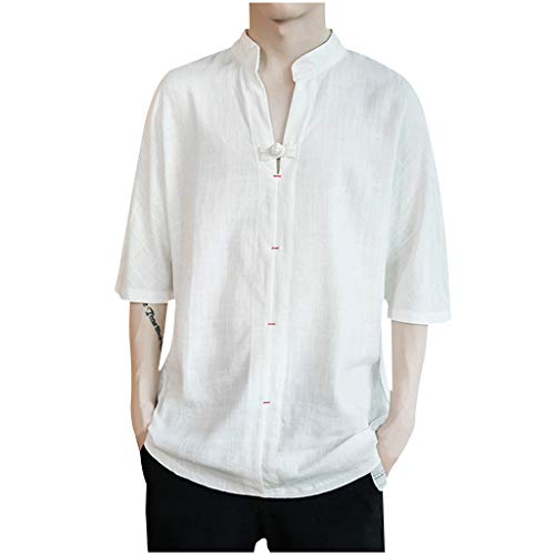 ANJUNIE Men's Vintage Linen Patchwork Half Sleeve T-Shirt ,Pure Color Comfort Loose Tops(1-White,L)