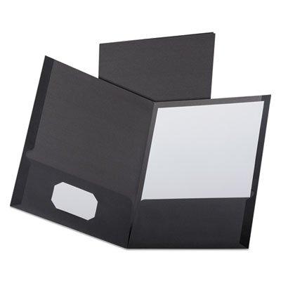 Linen Finish Twin Pocket Folders, Letter, Black,25/Box, Sold as 2 Box, 25 Each per Box