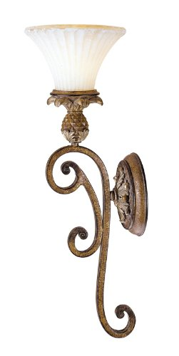 (Livex Lighting 8451-57 Savannah 1 Light Venetian Patina Wall Sconce with Vintage carved Scavo Glass)
