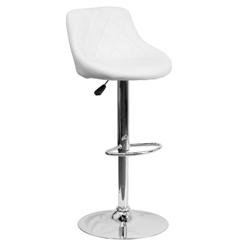Flash Furniture Contemporary White Vinyl Bucket Seat Adjustable Height Barstool with Chrome Base