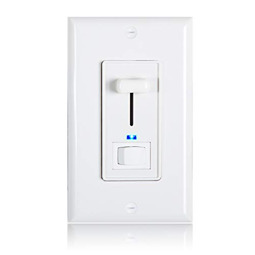 (Maxxima 3-Way/Single Pole Dimmer Electrical Light Switch with Blue Indicator Light 600 Watt max, LED Compatible, Wall Plate Included)