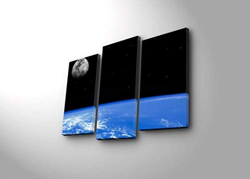 LaModaHome Blue LED Lighted Wall Art, Infinite Space View The Galaxy, Moon, Stars and The World, Canvas Battery Powered (not Cord) Wooden Frame Painting - 3 Panels - Wall Hanging