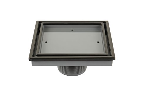 QM Tile-In Center/Square Shower Drain in ORB/Black, Stainless Steel Marine 316 Frame + ABS, Lagos Series Veil Line, Kit includes: Hair Strainer, Key
