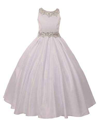 Big Girls White Shimmery Beaded Pleated Dull Satin Junior Bridesmaid Dress - Couture Allure Dresses Wedding