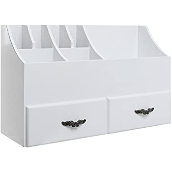 MyGift Shabby Chic White Wood Cosmetics Organizer/Makeup U0026 Beauty  Accessories Storage Rack W/