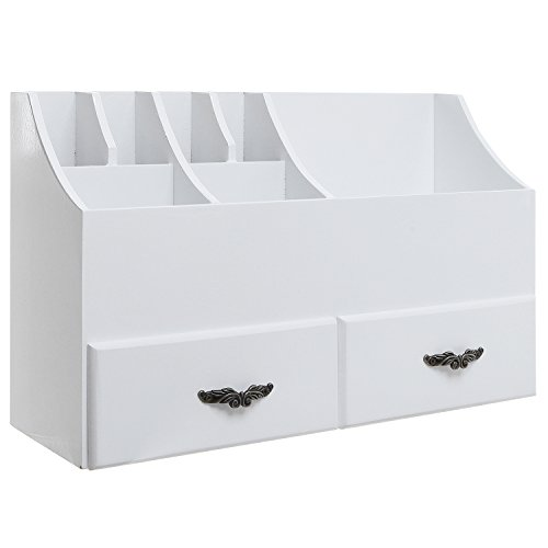 315AOJe8s L - MyGift Shabby Chic White Wood Cosmetics Organizer/Makeup & Beauty Accessories Storage Rack w/Drawers
