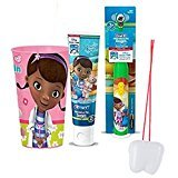 "Doc McStuffins Inspired 3pc Bright Smile Oral Hygiene Set! (1) Doc Turbo Powered Toothbrush, Fruit Burst Toothpaste & Mouthwash Rinse Cup! Plus Bonus ""Remember to Brush"" Visual Aid …"