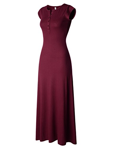 - NEARKIN (NKNKWBLD674 Womens Figure Hugging Henley Neck Daily Casual Maxi Dress Burgundy XX-Small(Tag Size XS)