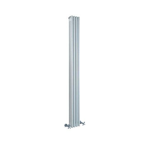 Hudson Reed - Regent - White Horizontal 2-Column Traditional Cast-Iron Style Radiator - 11.75
