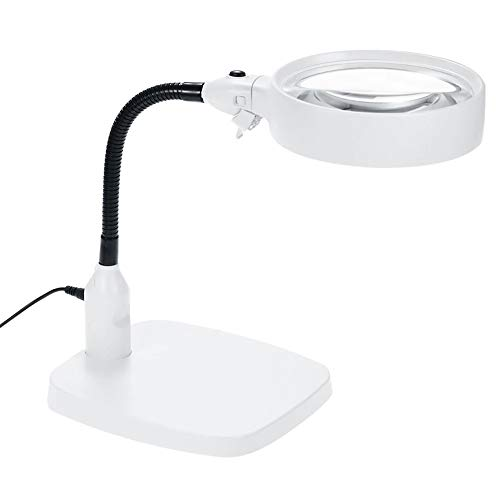 Shelfon Magnifiers Large Portable Ideal Magnifying Glass LED Free Magnifying Glass Hands-Free Light Stand Reading Magnifying Glass Books, Jewelry Making, Coin Check, Map, Newspaper