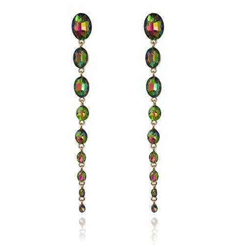 Oval Raining Drops Long Dangle Post Gala Earrings in Rainbow ()