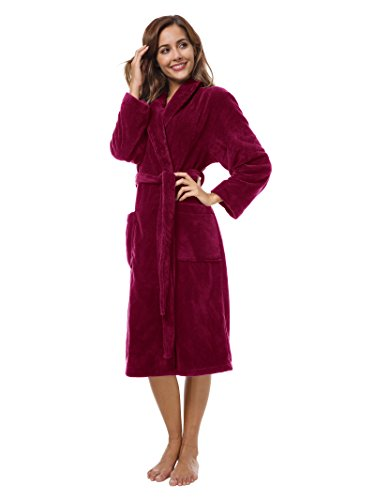 SIORO Womens Fleece Robes, Soft Warm Plush Bathrobe for Spa Shower Lounging, Shawl Collar Sleepwear for House Hotel Burgundy L