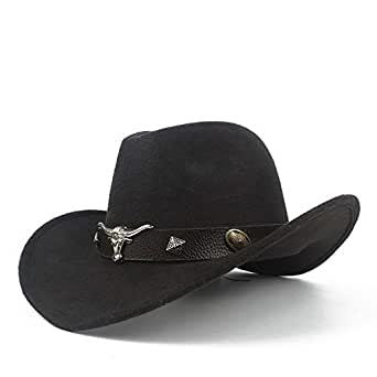 SHENTIANWEI Men Women Wool Western Cowboy Hat with Cow Head Leather Band Sombrero Hat Pop Wide Brim Jazz Church Hat Size 56-58CM (Color : Black, Size : 56-58)