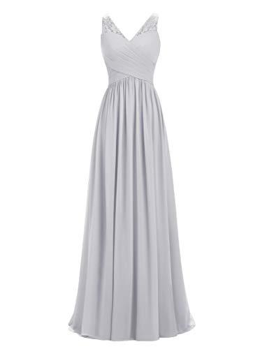 LIPOSA A-line V-Neck Chiffon Long Empire Bridesmaid Dresses Simple Prom Dresses (Silver, Custom Made)