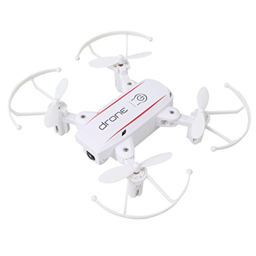 Gbell Mini Pocket Camera Selfie Drone for Kids - Wifi FPV 0.3MP Camera Foldable 2.4G 6-Axis Quadcopter Drone Toys -for Beginners, Boys Adults Birthday Christmas New Year Gifts,White Black (White) by Gbell