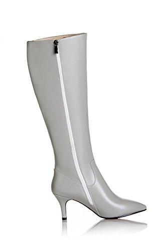 Women's Elegant Handmade Heel Knee Pointy Toe High Genuine Leather Grey Boot Stiletto Seven Nine zBtF8a
