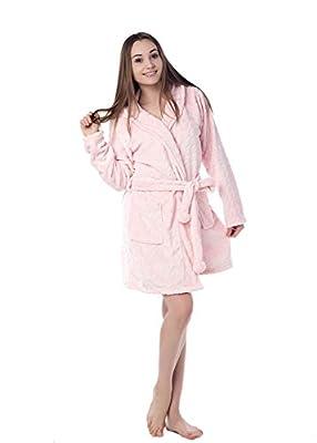 Dolcevida Womens Knee-Length Hooded Spa Bathrobe Lightweight Kimono Nightgown