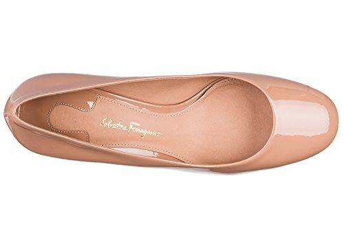 Salvatore Ferragamo Women's Leather Pumps Court Shoes high Heel Lucca Beige
