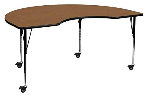 Flash Furniture Mobile 48''W x 72''L Kidney Oak Thermal Laminate Activity Table - Standard Height Adjustable Legs