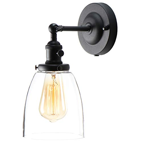 XIDING Premium Industrial Edison Antique Simplicity Glass Wall Sconce Light, Upgrade Black Finish Wall Lamp, On/Off Rotary Switch on Socket, 1-Light ...
