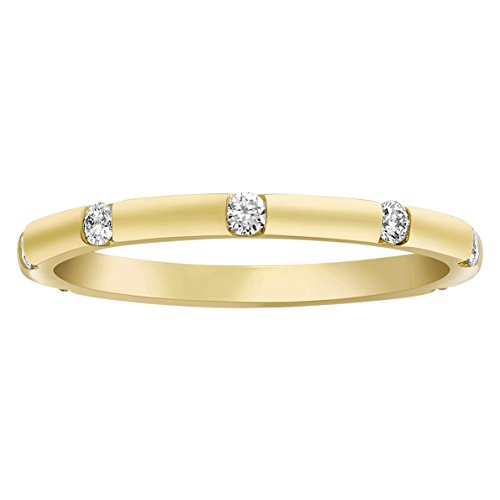 Olivia Paris 1/4 Carat ctw White Yellow or Rose Gold Gypsy Bezel Set Band Ring in 14k Gold (H-I, I1) (yellow-gold, ()
