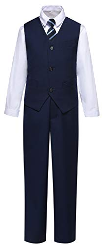 Visaccy 4 Piece Boys Formal Suits with Vest Pants Shirt and Tie Navy Suits Size 4T