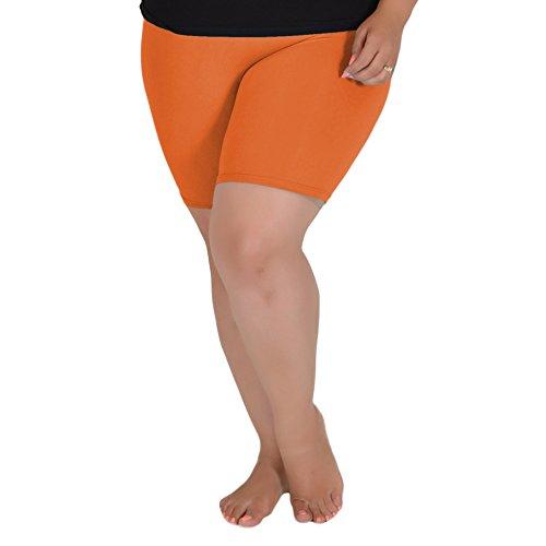 Stretch is Comfort Women's Cotton Plus Size Bike Shorts Orange X-Large