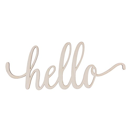 (FRECI Hello Wooden Letter Sign Plaque Unfinished Wooden Hello Sign Wall Art)