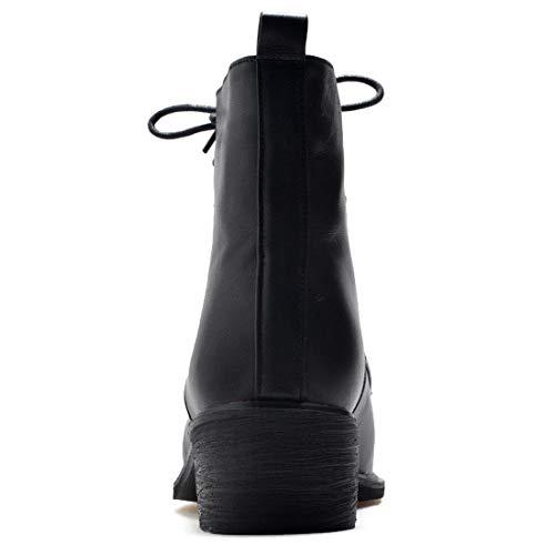 Cheville Jushee CM Bloc 39 Jualmos 4 Femme Noir Lacer Autres 5 Bottes Cuir IqwxrSYq