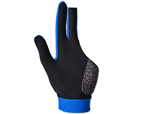 Glove with Pad for Left Bridge Hand 1 Piece, 3 Fingers Elastic Lycra Stretchable Pool Cue Snooker Glove - Blue ()