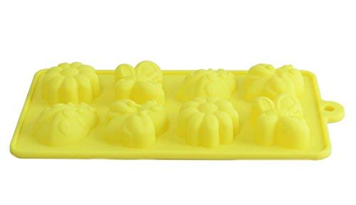 8 Cavity Mold Non-stick Candy Jelly Molds, Chocolate Molds, Soap Molds, Silicone Baking Molds (Yellow, Garden Theme)