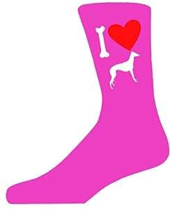 Hot Pink Ladies Novelty gris Hound calcetines–I Love My calcetines de perro