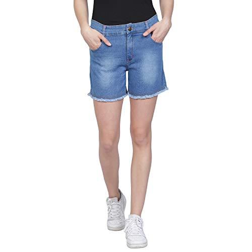 Club A9 Women's Fringed Hemline Blue Denim Shorts   Stretchable
