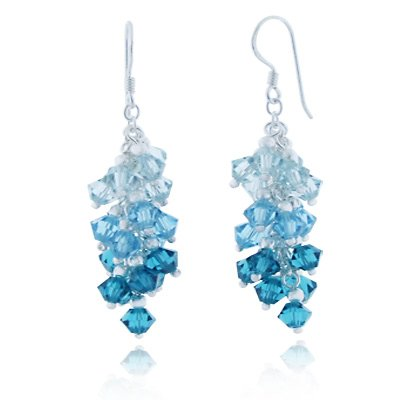 Blue Faceted Crystal Beads Dangle Hook Earrings (Silver Dangle Blue Glass Earrings)