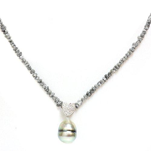 18k Gold - Diamond Heart Tahitian South Sea Cultured Pearl & Grey Diamond Necklace AAA 18