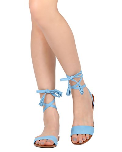 [Women Lace Up Strap Gladiator Sandal - Casual, Costume, Stylish - Tasseled Flat Sandal - GG45 By Breckelles - Blue Faux Suede (Size:] (Gladiator Costumes Shoes)