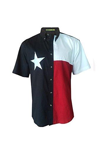 Tiger Hill Texas Flag Short Sleeve Twill Shirt (Large)
