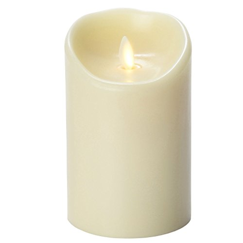 Moonflor 3.5-5 Ivory Luminara Flameless Candles Wax Candle 3.5 by 5-inch Ivory with Timer Remote Included