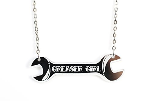 (Project Pinup Silver Mirrored Greaser Girl Wrench Laser Cut Acrylic Necklace)