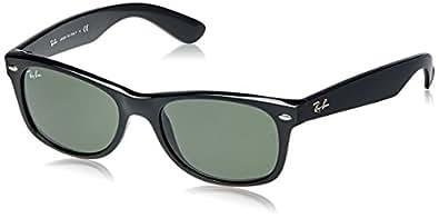 Ray-Ban RB2132 New Wayfarer Non- Polarized Sunglasses, Black Frame/Crystal Green Lenses 52 mm