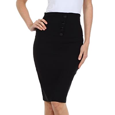 Sakkas Petite High Waist Stretch Pencil Skirt with Four Button Detail at Women's Clothing store