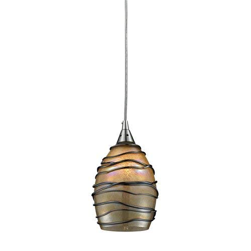Elk 31142/1-LED Vines 1-LED Light Pendant with Hand Blown Glass Shade, 5 by 9-Inch, Satin Nickel Finish