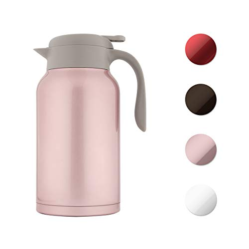 - SDREAM 68 Oz Coffee Carafe Thermal Stainless Steel Double Walled Thermal Pots Hot Cold Beverage (Pink)