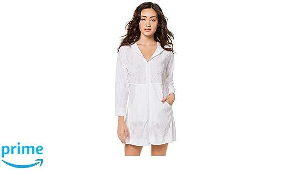 d74fdb86b6 J. VALDI Women's Wovens Hooded Zip Front Tunic Swim Cover Up White S at Amazon  Women's Clothing store: