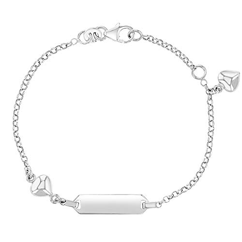925 Sterling Silver Tag ID Heart Charm Adjustable Bracelet Girls or Pre Teens 6